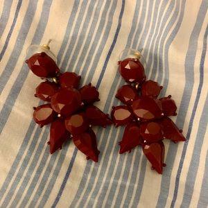 J.Crew Maroon Statement Earrings